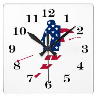 Relógio Quadrado Bandeira dos EUA do americano de esqui de América