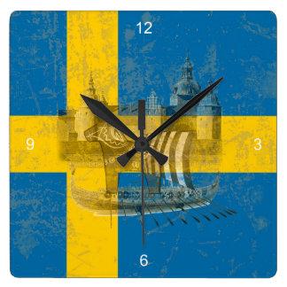 Relógio Quadrado Bandeira e símbolos da suecia ID159