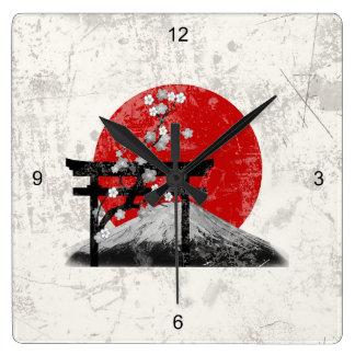 Relógio Quadrado Bandeira e símbolos de Japão ID153