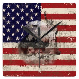 Relógio Quadrado Bandeira e símbolos dos Estados Unidos ID155