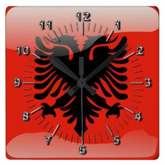 Relógio Quadrado Bandeira lustrosa albanesa