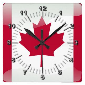 Relógio Quadrado Bandeira lustrosa canadense