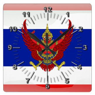 Relógio Quadrado Bandeira lustrosa de Tailândia