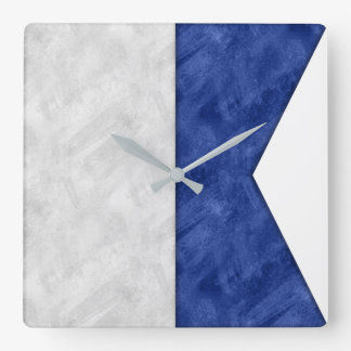 Relógio Quadrado Bandeira marítima do sinal náutico da aguarela