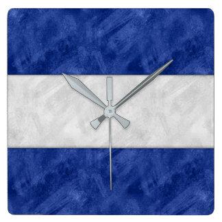 Relógio Quadrado Bandeira marítima do sinal náutico da aguarela de