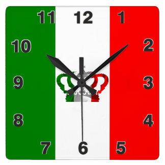 Relógio Quadrado Bandeira moderna do italiano de Italia da coroa do