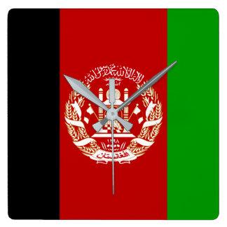 Relógio Quadrado Bandeira nacional do mundo de Afeganistão