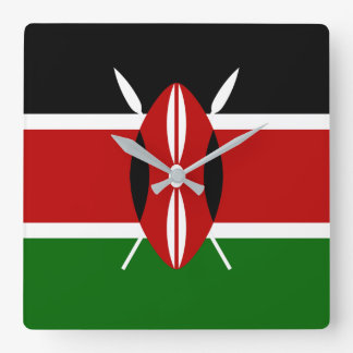 Relógio Quadrado Bandeira nacional do mundo de Kenya
