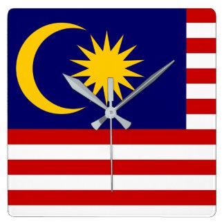Relógio Quadrado Bandeira nacional do mundo de Malaysia