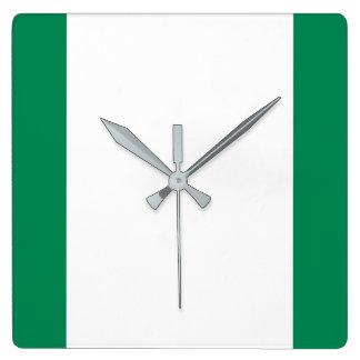 Relógio Quadrado Bandeira nacional do mundo de Nigéria