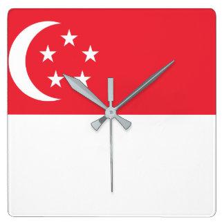 Relógio Quadrado Bandeira nacional do mundo de Singapore