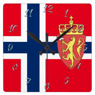 Relógio Quadrado Bandeira norueguesa