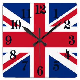 Relógio Quadrado Bandeira real BRITÂNICA de Grâ Bretanha Union Jack