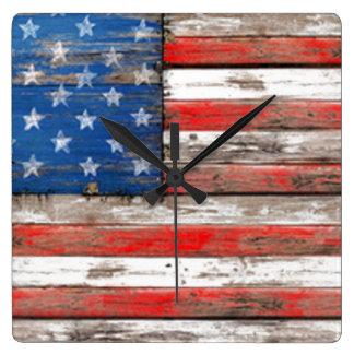 Relógio Quadrado Bandeira referente à cultura norte-americana