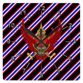 Relógio Quadrado Bandeira tailandesa das listras