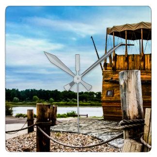 Relógio Quadrado Barco de rio