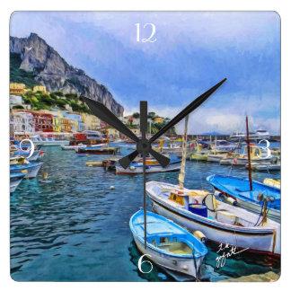 Relógio Quadrado Barcos da arte italiana da foto de Capri