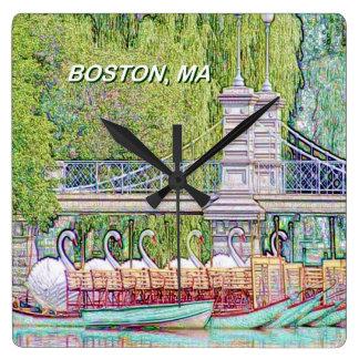 Relógio Quadrado Barcos da cisne de Boston no filtro do lápis e da