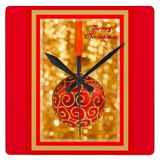 Relógio Quadrado Bauble do Feliz Natal no ouro