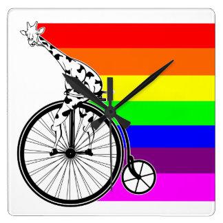 Relógio Quadrado Bicicleta do arco-íris do girafa