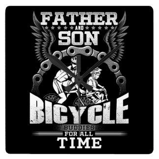 Relógio Quadrado Bicicleta do filho do pai