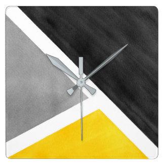 Relógio Quadrado Bloco amarelo da aguarela do branco cinzento