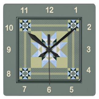 Relógio Quadrado Bloco complexo da edredão do remendo da estrela