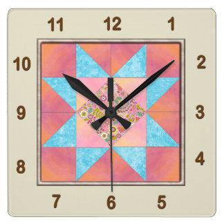 Relógio Quadrado Bloco da edredão do por do sol & da água do