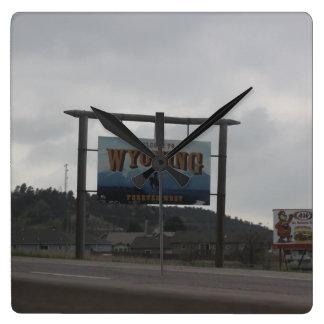 Relógio Quadrado Boa vinda ao pulso de disparo de Wyoming