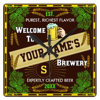 Relógio Quadrado Boa vinda personalizada da cervejaria: Cerveja da