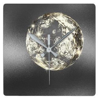 Relógio Quadrado Bola de cristal do ouro das cinzas de prata do