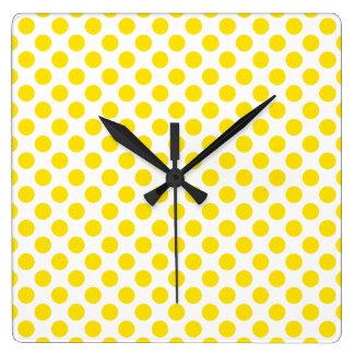 Relógio Quadrado Bolinhas amarelas