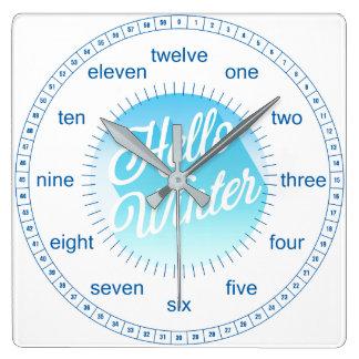 Relógio Quadrado Bolinhas azuis e do branco olá! do inverno