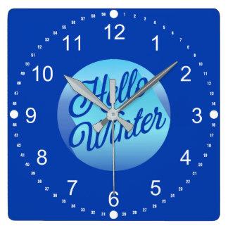 Relógio Quadrado Bolinhas do inverno do azul olá!