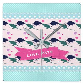 Relógio Quadrado Bolinhas dos ratos do amor