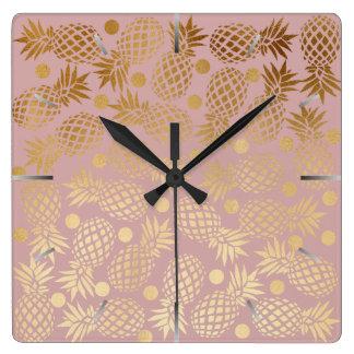 Relógio Quadrado bolinhas elegantes do teste padrão do abacaxi do