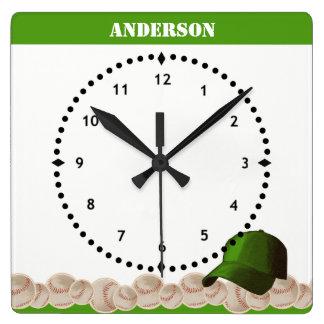 Relógio Quadrado Boné do verde do pulso de disparo de parede do
