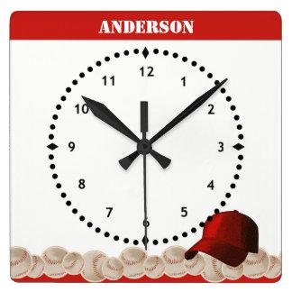 Relógio Quadrado Boné vermelho do pulso de disparo de parede do