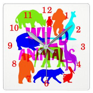 Relógio Quadrado Bonito brilhante colorido dos animais selvagens