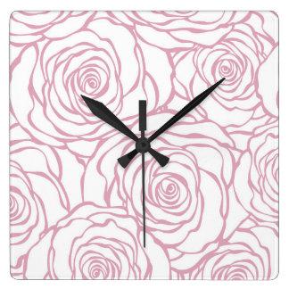 Relógio Quadrado bonito, floral.pink, branco, peônias, femininos,