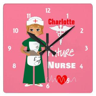Relógio Quadrado Bonito futuro das meninas da enfermeira