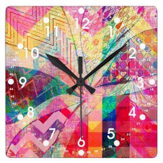 Relógio Quadrado Borboleta feminino abstrata Funky colorida