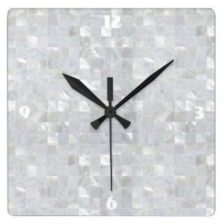 Relógio Quadrado Branco do IMPRESSÃO da MADREPÉROLA