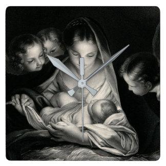 Relógio Quadrado Branco do preto dos anjos da Virgem Maria de Jesus