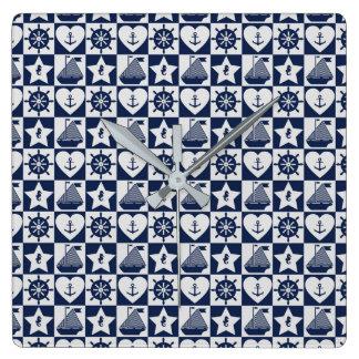 Relógio Quadrado Branco náutico dos azuis marinhos checkered