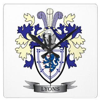 Relógio Quadrado Brasão da crista da família de Lyons