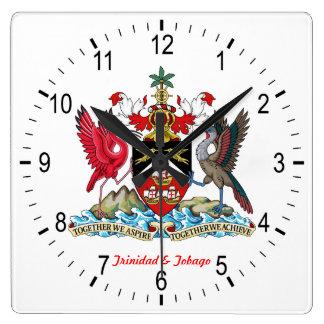 Relógio Quadrado Brasão de Trinidad & de Tobago