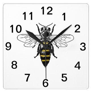 Relógio Quadrado Brasão heráldica formal C da abelha #2 do vintage