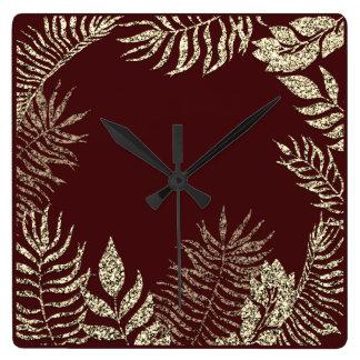 Relógio Quadrado Brilho botânico da palma de Borgonha do Sepia do