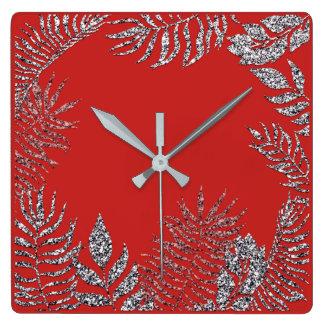 Relógio Quadrado Brilho botânico da palma vermelha brilhante das